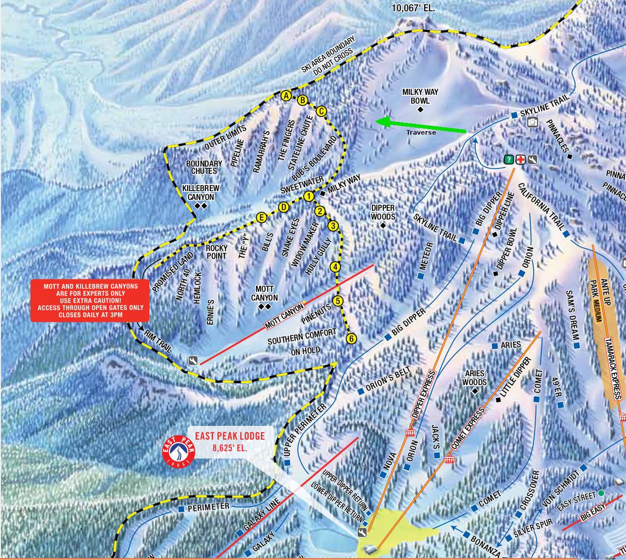 Canyons Ski Map on