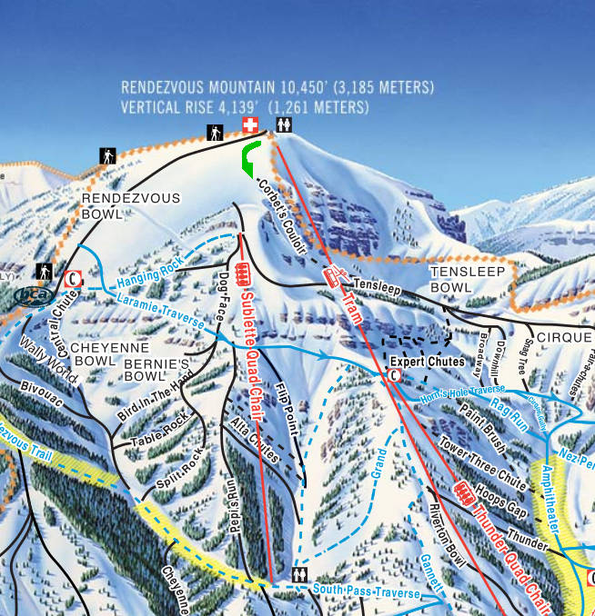 Trail Map For Corbet S Couloir At Jackson Hole Mountain Resort