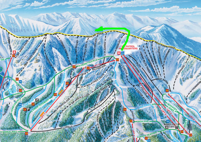 Trail Map For The Highline Ridge Run At Taos Nm Ski Valley