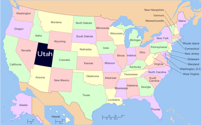 Utah On Map Of Usa New York Map - Map usa utah