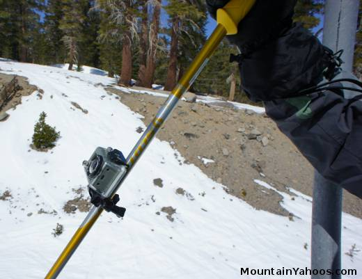 Video camera ski pole mount